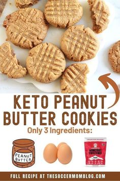 Learn how to make easy, keto peanut butter cookies! These cookies are so delicious and are only 3 ingredients! If you are on the keto diet or just like peanut butter then this dessert recipe is perfect for you! Bake up your own batch of easy keto peanut butter cookies this weekend!