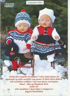 Beautifully dressed up dolls. The Norwegian Marius knitting pattern. Knitting Dolls Clothes, Knitted Dolls, Doll Clothes, Boy Doll, Girl Dolls, Knitting For Kids, Baby Knitting, Doll Patterns, Knitting Patterns