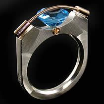 9mm Tension Ring Blue Topaz in Sterling Silver by Tomasz Plodowski Jewelry