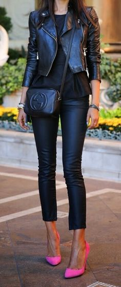 26 Great Fall Outfits: Ideas To Try Already This Autumn/Winter Season: Woman wearing black leather pants and black leather moto jacket