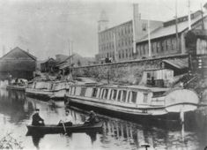 Boats on the Ohio Erie Canal at Groveport, Ohio. The Ohio and Erie Canal was one of Ohio's most important canals during the mid nineteenth century.