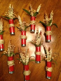 Shot gun shell Boutonniere.  These are some nicely done boutonnieres found…