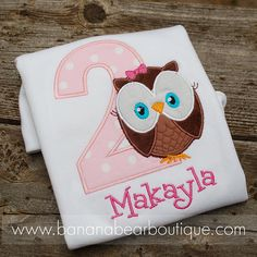 Precious Pink Owl Birthday Shirt or Bodysuit Girl 2nd Birthday, Birthday Parties, Birthday Ideas, Pink Owl, Learn To Sew, I Party, Hippie Chic, Cute Shirts, Birthday Shirts