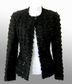 05P Chanel Fringed Black Sequin Boucle Evening Jacket
