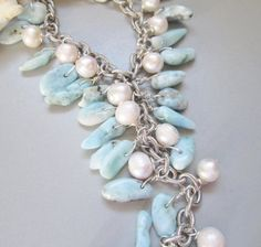 Larimar Freshwater Pearl  Necklace Handmade Jewelry by nina68, gorgeous and great price!!!