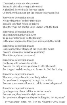 Sometimes depression means something non-depressed people don't think it means