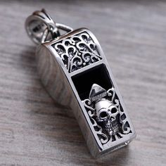 """Men's Sterling Silver Skull Whistle Necklace with Sterling Silver Bead Chain 18""""-26"""""""