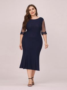 Looking for a dress that looks as good as you do? If yes, then this evening dress for mature women should be in your closet. It is quite a simple yet elegant dress and looks great on everyone. It features see-through short sleeves and round neck. It also features a fishtail silhouette which makes the body look curvier. Casual Work Dresses, Work Casual, Dresses For Work, Ever Pretty, Plus Size Casual, Fishtail, Plus Size Dresses, Looks Great, Evening Dresses