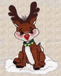 Threadsketches' set Reindeer games- Christmas machine embroidery design, deer in snow