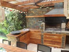 Pergola Attached To House Info: 6472121214 Outdoor Kitchen Patio, Outdoor Rooms, Outdoor Dining, Outdoor Decor, Deck With Pergola, Pergola Patio, Pergola Kits, Parrilla Exterior, Patio Flooring