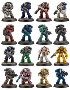 The 17 known Space Marine legions from the Great Crusade and the Horus Heresy. Warhammer 40k Figures, Warhammer Paint, Warhammer Models, Warhammer 40k Miniatures, Warhammer 40000, Warhammer Armies, Marine Colors, Imperial Fist, Tyranids