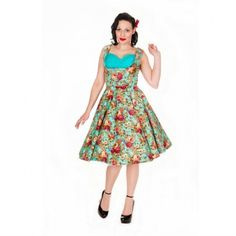 50's Swing Dress - Ophelia Floral -Turquoise