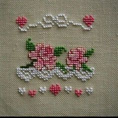 Find this Pin and more on Cross Stitch Roses. Cross Stitch Pictures, Cross Stitch Heart, Cross Stitch Borders, Cross Stitch Flowers, Modern Cross Stitch, Cross Stitch Designs, Cross Stitching, Cross Stitch Patterns, Ribbon Embroidery