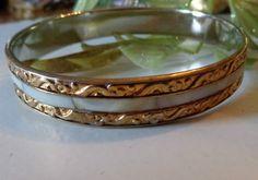 VINTAGE Rhodium Silver SP Embossed Brass Mother Pearl Inlay Bracelet....