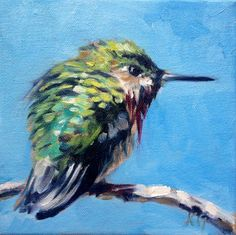 Branch For One: Holiday Gift Ideas, Calliope Hummngbird limited edition mini print by artist Kindrie Grove by KindrieGroveStudios on Etsy
