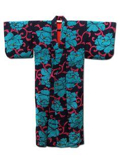 ☆ New Arrival ☆ 'Cabaret' #womens #antique #black #kimono #bluish #green #peony #pattern from #FujiKimono http://www.fujikimono.co.uk/fabric-japanese/cabaret.html #textile #costume #fashion #kawaii #cosplay