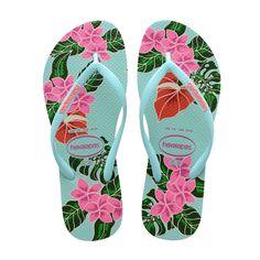 0675d8c194d5 Havaianas Slim Floral Flip Flops Ice Blue - 9 10 Floral Flip Flops