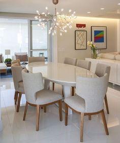 Mesa jantar branca oval