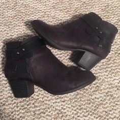 Charlotte Russe black booties Black booties from Charlotte Russe. Only worn a few times. Size 7 in women's. Only flaw is a small scuff on the inside heel of right shoe (pictured). Charlotte Russe Shoes Ankle Boots & Booties