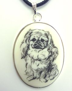 A Pekingese Drawing on White Cabochon in Silver Tone by dogonitart, $8.99