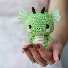 This super cute Amigurumi Baby Dragon Crochet Pattern is perfect for your next project and it's free. Cute Crochet, Crochet For Kids, Crochet Yarn, Crochet Toys, Dragon En Crochet, Crochet Dragon Pattern, Crochet Amigurumi, Amigurumi Patterns, Crotchet Animals
