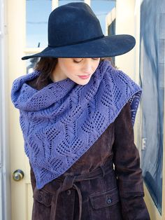 "Free pattern from Berroco ""Fleming"", using Berroco Ultra Alpaca Light. A wrap using a combination of lace and cable stitches."