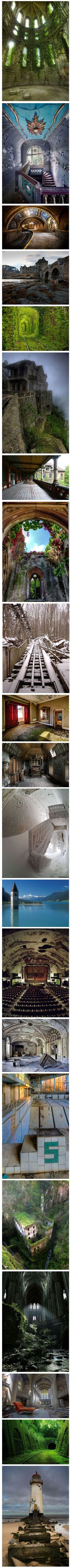 Incredible abandoned places around the world - most of the locations can be found at this website (http://blogof.francescomugnai.com/2013/01/30-of-the-most-beautiful-abandoned-places-and-modern-ruins-ive-ever-seen/), NOT the one your get to by clicking through.