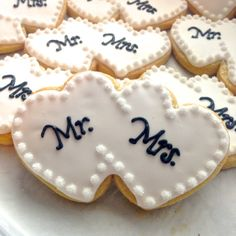 Mr. Mrs. Heart Wedding Cookies by FlavorPursuit on Etsy, $35.00