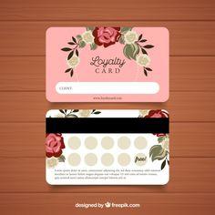 Lovely loyalty card template with floral style Vector Loyalty Card Design, Loyalty Card Template, Nail Salon Decor, Beauty Salon Decor, Minimal Business Card, Business Card Design, Salon Business Cards, Beauty Business Cards, Nail Logo