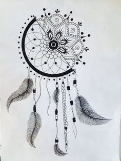 Catches dream drawing - how to make the drawing dream catcher! - Art and Literature Doodle Art Drawing, Cool Art Drawings, Mandala Drawing, Pencil Art Drawings, Art Drawings Sketches, Tattoo Drawings, Mandala Painting, Drawing Ideas, Dream Catcher Drawing