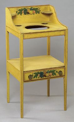 Hepplewhite Wash Stand with Mustard Yellow & Fruit Stencils, - Cowan's Auctions Country Cottage Bedroom, Yellow Fruit, Wash Stand, Cozy Bedroom, Auction, Mustard Yellow, Table, Stencils, Furniture