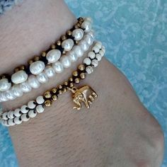 "Tina Puntigam (@tina_thestoryteller) on Instagram: ""A little arm candy for this beautiful Sunday afternoon. The Trades of Hope Honor and Thai pearl…"""
