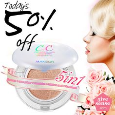 Today's 50% Sale! Express moist, shiny and moist glow CC cushion! SPF50+ / PA+++ Whitening + Anti-wrinkle + Sun block Triple functionality $19 -> $10