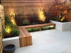 3 - L-shape bench as per drawing b, with integrated planter 4 - Nice lighting 5 - small bed underneath bench