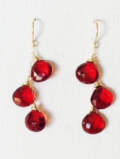 Garnet quartz cascade earrings (E121)