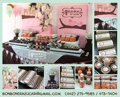 Barra mixta en tonos rosa, menta y chcocolate con tema de búhos y pajaritos