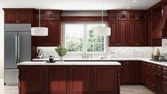 Corner Sink Kitchen, Rta Kitchen Cabinets, Bathroom Cabinets, Small Kitchen Layouts, Kitchen Photos, Kitchen Ideas, Cherry Cabinets, White Cabinets, Cabinets For Less