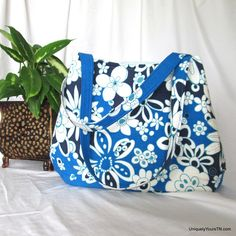 Carol Bag: blue & white floral (convertible bag) from Uniquely Yours TN on Square Market