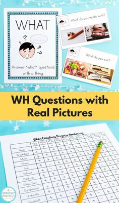 WH questions with real picture answer choices - a must have product for speech therapy for students with autism! Progress monitoring included. From Speechy Musings.