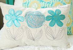 scribbled flowers pillow | by meringuedesigns