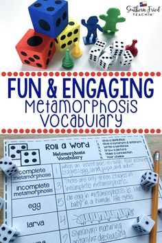 Your students will LOVE this vocabulary activity on Metamorphosis! Rolling the dice makes it fun and engaging, and they might even beg to play it! #vocabulary #science #sciencevocabulary #metamorphosis #completemetamorphosis #incompletemetamorphosis #lifecycles