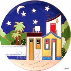Presentes p/estrageiros - Nordeste Painted Plates, Hand Painted Ceramics, Mini Paintings, Easy Paintings, Pottery Painting, Ceramic Painting, Mosaic Projects, Art Projects, Glass Painting Patterns
