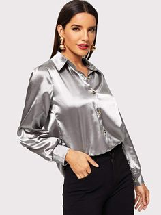 Satin Plain Blouse Satin Underwear, Satin Bluse, Shirt Blouses, Shirts, Elegant Woman, Satin Dresses, Silk Satin, Blouses For Women, Sexy