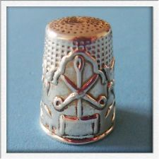 L@@k Lovely Vintage Sterling SILVER Scissor Needle Thread Flower Sewing Thimble!