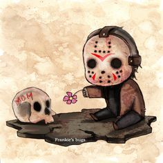 Little Jason, it's too early to be making me cry mate Horror Movie Characters, Horror Films, Arte Horror, Horror Art, Chibi, Memes Arte, Jason Voorhees, Creepy Art, Wow Art