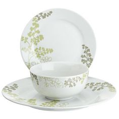 Tu Green Fern Porcelain 12-piece Dinnerware Set