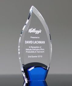 Choose the sleek Azure Flame to recognize your best and brightest! Constructed from multicolors including clear acrylic, jet black acrylic and blue mirror, this award is truly impressive as it is unique. Employee Awards, Crystal Awards, Acrylic Awards, Trophy Design, Recognition Awards, Black Acrylics, Blue Mirrors, Picture Design, Laser Engraving