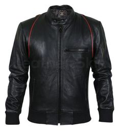 Men Black Genuine Leather jacket with Red Stripe Design - Leather Skin Shop Best Leather Jackets, Men's Leather Jacket, Leather Skin, Black Leather, Jacket Men, Revival Clothing, Stripes Design, New Outfits, Winter Outfits