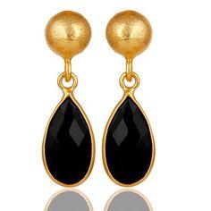 Black-Onyx-Gemstone-Brass-Drops-Earrings-18k-Yellow-Gold-Plated-Fashion-Jewelry