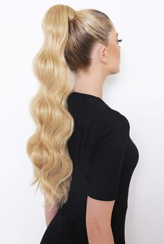 Want to add an a-list swish to your hair? Introducing our brand new Grande Lengths Hollywood Wave Wraparound Pony. Bringing glam AF vibes, our new ponytail will give you the ultimate upgrade without the Hollywood price tag. Long Ponytail Hairstyles, Ponytail Hair Piece, Ponytail Haircut, Double Ponytail, Perfect Ponytail, Formal Ponytail, Hollywood Waves, Hollywood Hair, Cute Ponytails